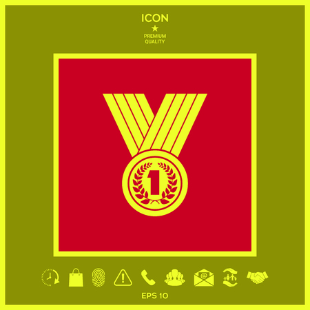Medal with Laurel wreath. Icon . Signs and symbols - graphic elements for your design Illustration