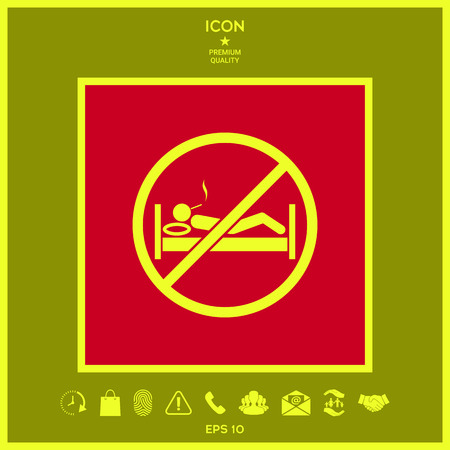 No smoking in bed - prohibition icon . Signs and symbols - graphic elements for your design Vettoriali