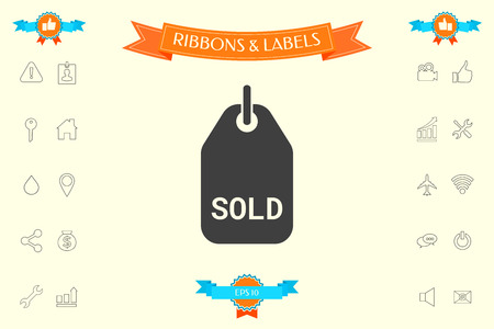 Sold tag . Signs and symbols - graphic elements for your design Ilustração