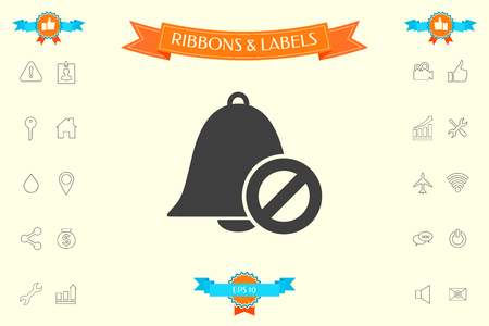 No bell icon. Prohibition sign. Stop symbol . Signs and symbols - graphic elements for your design Illustration