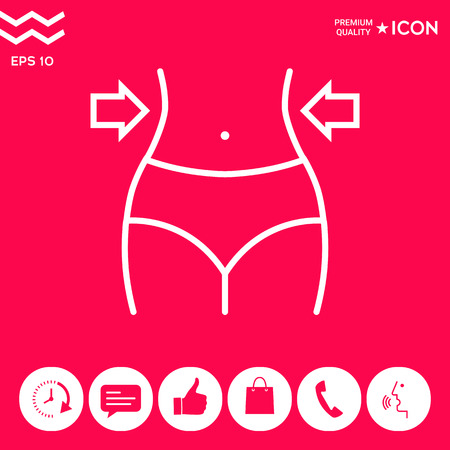 Women waist, weight loss, diet, waistline line icon . Signs and symbols - graphic elements for your design 向量圖像