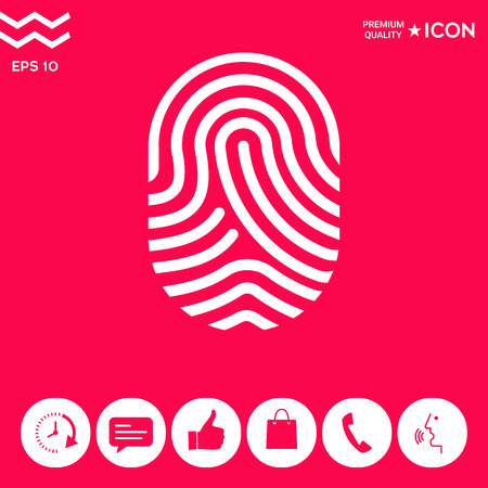 Fingerprint. Scanned finger icon . Signs and symbols - graphic elements for your design