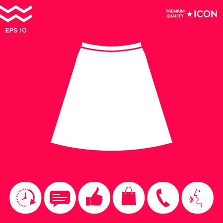 Skirt icon, the silhouette. Menu item in the web design . Signs and symbols - graphic elements for your design