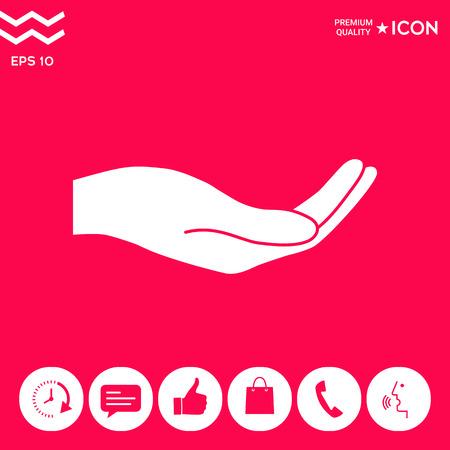 Icône de main ouverte. Signes et symboles - éléments graphiques pour votre conception