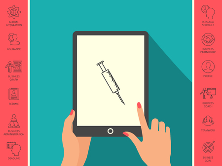 Medical syringe symbol . Signs and symbols - graphic elements for your design Ilustração