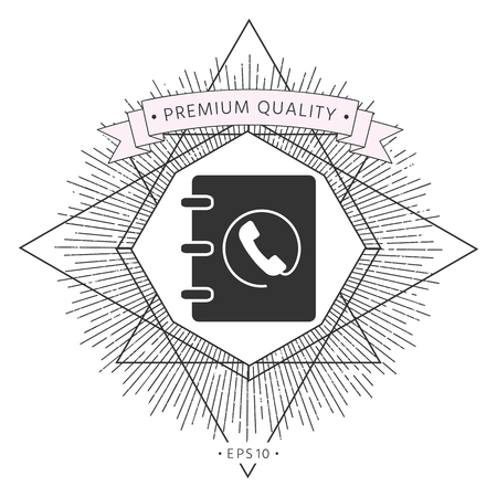 Notebook, address, phone book icon with handset symbol
