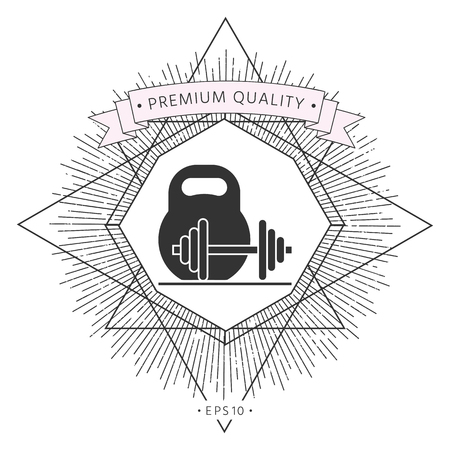 Kettlebell and barbell icon Stock Vector - 103740184