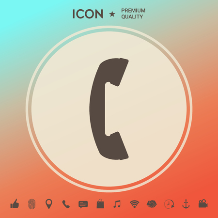Telephone handset, telephone receiver symbol . Signs and symbols - graphic elements for your design