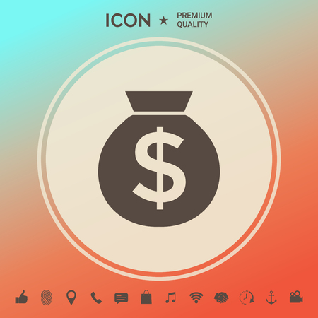 Bag of money icon with dollar symbol Illustration