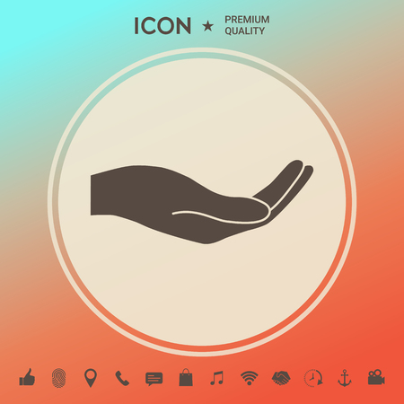 Open hand icon . Signs and symbols - graphic elements for your design