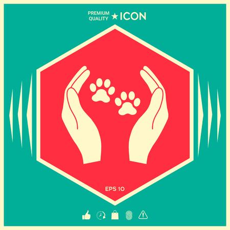Shelter Haustiere Zeichen Symbol . Hände halten Pfote . Tierschutz