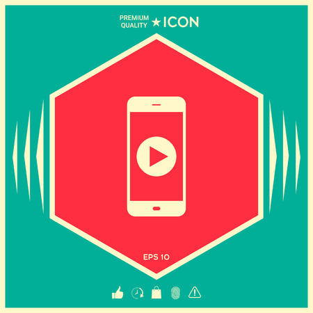 Business Phone with play button icon Vektorové ilustrace