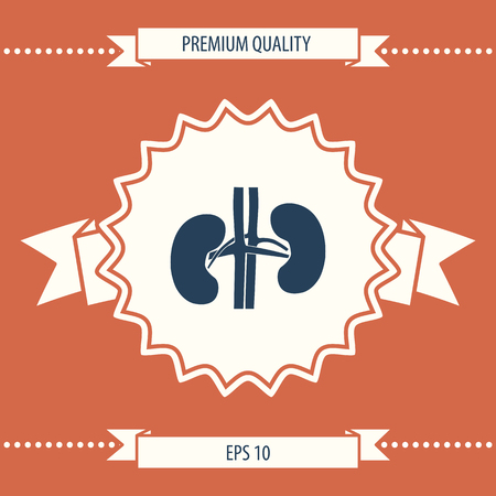 Human organs. Kidney silhouette icon . Signs and symbols - graphic elements for your design Illustration