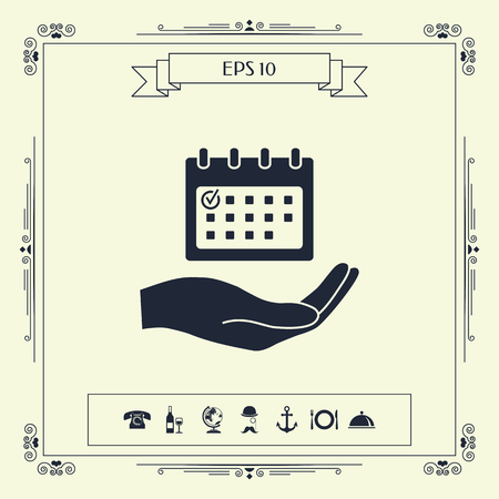 Planning, time management, hand holding calendar icon . Signs and symbols - graphic elements for your design  イラスト・ベクター素材