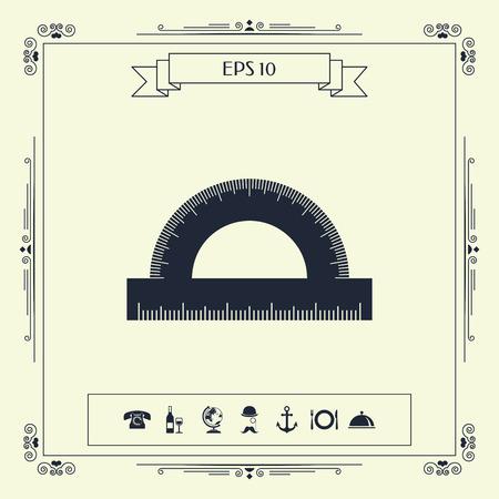 Protractor symbol icon