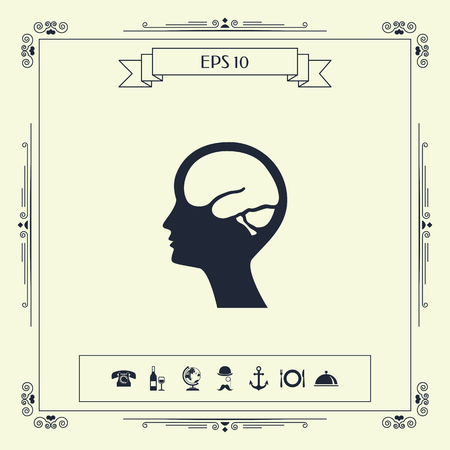 Head with brain symbol icon . Signs and symbols - graphic elements for your design