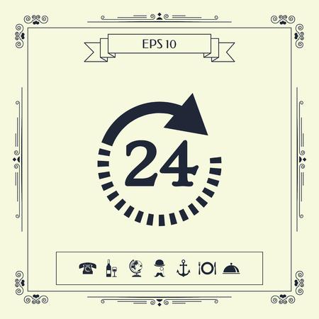 Open around the clock symbol icon. Opening hours symbol icon