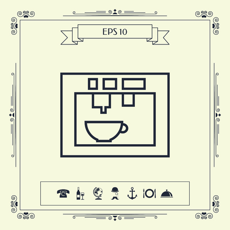 Coffee machine, coffee maker linear icon. Element for your design . Signs and symbols - graphic elements for your design