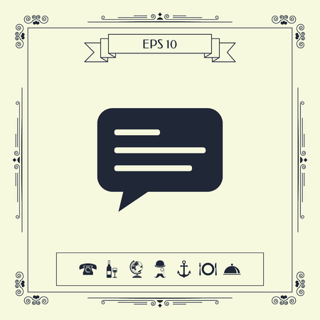 Chat icon sign with text symbol. Element for your design . Signs and symbols - graphic elements for your design Ilustração