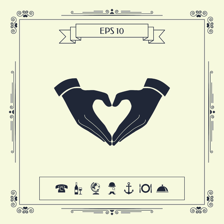Heart shape made with hands . Signs and symbols - graphic elements for your design