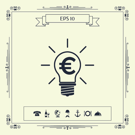 Light bulb with euro symbol business concept . Signs and symbols - graphic elements for your design Vectores