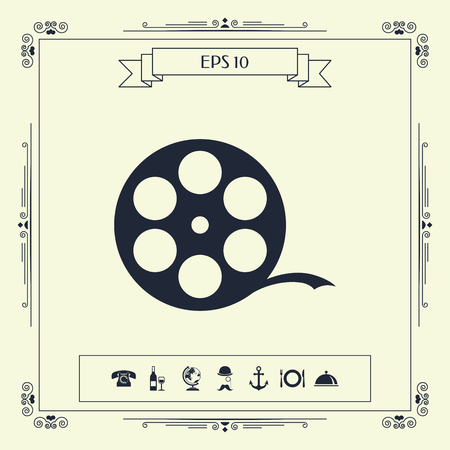 Reel film symbol . Signs and symbols - graphic elements for your design