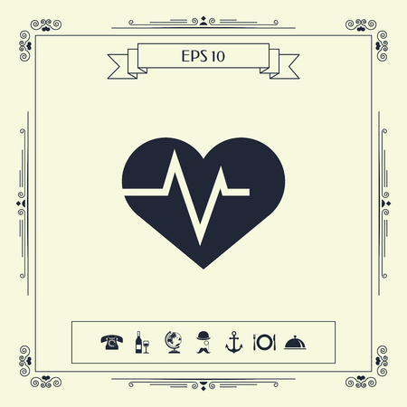 Heart with ECG wave - cardiogram symbol. Medical icon . Signs and symbols - graphic elements for your design