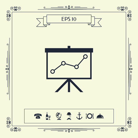 Flip-chartwith a graph. Web icon. . Signs and symbols - graphic elements for your design Ilustração