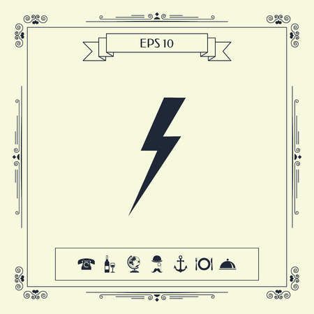 Thunderstorm lightning icon . Signs and symbols - graphic elements for your design Illustration