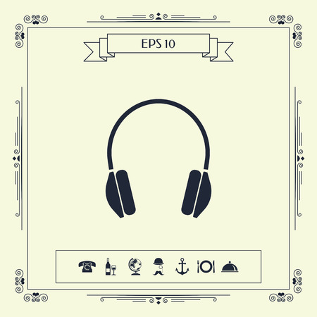 Headphones icon . Signs and symbols - graphic elements for your design
