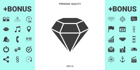 Diamond sign. Jewelry symbol. Gem stone. Flat simple design Vetores