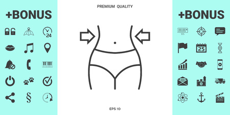 Women waist, weight loss, diet, waistline line icon . Signs and symbols - graphic elements for your design 矢量图像