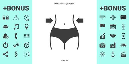 Taille des femmes, perte de poids, alimentation, icône de tour de taille. Signes et symboles - éléments graphiques pour votre conception