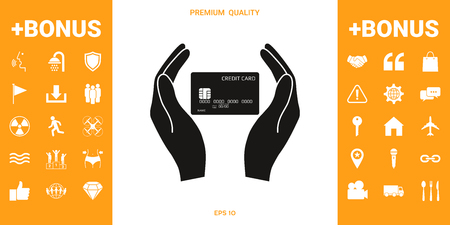 Hands holding credit card . Signs and symbols - graphic elements for your design Illustration