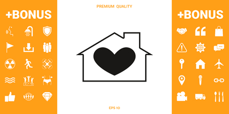 House with heart symbol . Signs and symbols - graphic elements for your design