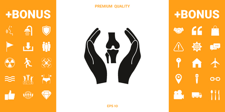 Hands holding knee-joint - protection icon . Signs and symbols - graphic elements for your design Illustration
