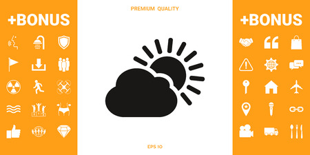 Sun cloud icon . Signs and symbols - graphic elements for your design