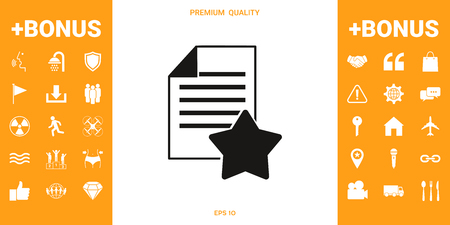 Warranty sheet of paper with a star. Icon . Signs and symbols - graphic elements for your design