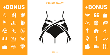 Women waist with measuring tape, weight loss, diet, waistline - icon Stock fotó
