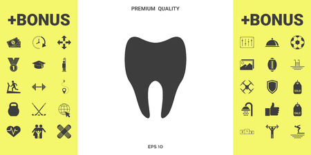 Tooth symbol silhouette . Signs and symbols - graphic elements for your design