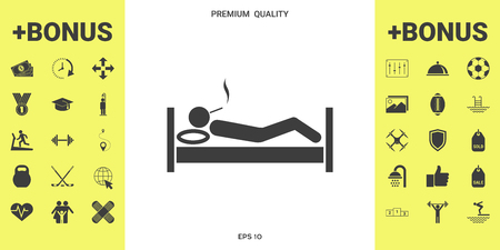 Smoking in bed icon . Signs and symbols - graphic elements for your design