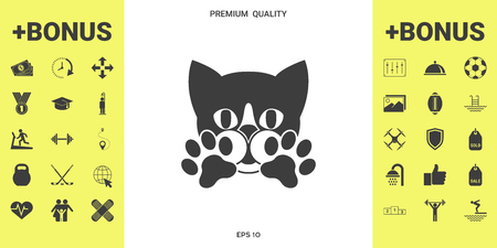 Cute Cat, paws -  symbol, protect sign illustration