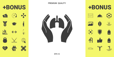 Hands holding lungs - protection icon . Signs and symbols - graphic elements for your design