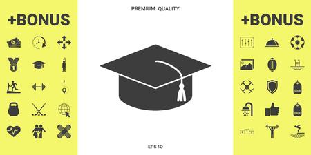 Master cap for graduates, square academic cap, graduation cap icon . Signs and symbols - graphic elements for your design 向量圖像