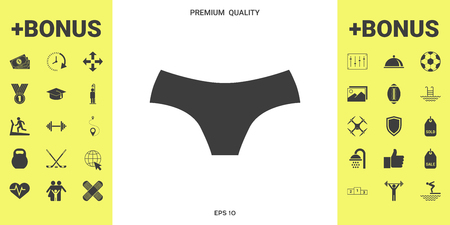 Women panties, the silhouette. Menu item in the web design . Signs and symbols - graphic elements for your design