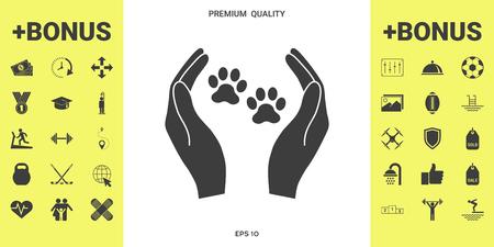 Icône de signe de refuge pour animaux de compagnie. Mains tient le symbole de la patte. Protection des animaux Vecteurs