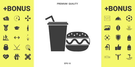Hamburger or Cheeseburger, Paper cup with drinking straw icon . Signs and symbols - graphic elements for your design 向量圖像