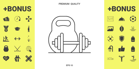 Kettlebell and barbell line icon . Signs and symbols - graphic elements for your design 일러스트