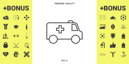 Ambulance line icon Иллюстрация