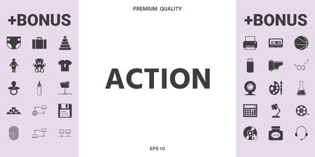 Action button symbol. Element for your design. . Illustration